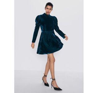 Zara Duck Green Velvet Dress - NWT